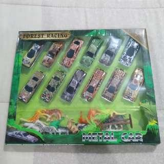 Legit Brand New With Box Forest Racing Metal Car Animals Toy Figure Set