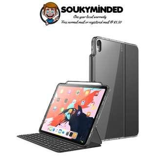 [IN-STOCK] iPad Pro 11 Case 2018, [Compatible with Official Smart Cover and Smart Keyboard] i-Blason [Halo] Clear Hybrid Protective Case with Pencil Holder for iPad Pro 11 Inch 2018 Release (Black)