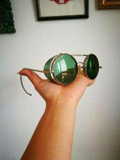 Antique Goggle style 60's Round Green Sunglasses