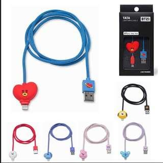 ( PO ) BT21 OFFICIAL lightning cable ( iPhone charging wire )
