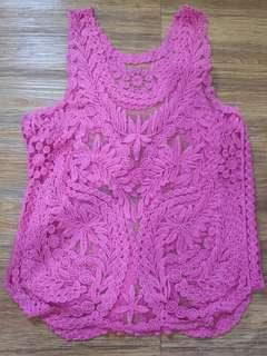 Pink Lace Design Cover Up