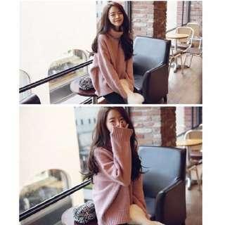 🚚 粉色高領毛衣