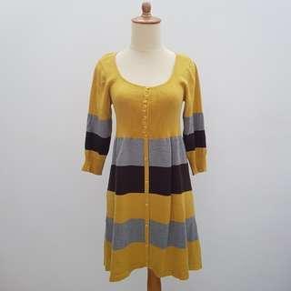 Mustard Striped Knit Dress