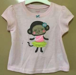Carter's pink top 18 months with stain