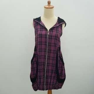Azura Purple Hoodie Checkered Dress