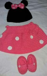 Baju baby mini mouse rajut
