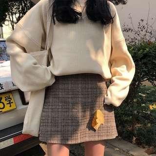 🚚 復古高腰A字毛呢格紋短裙