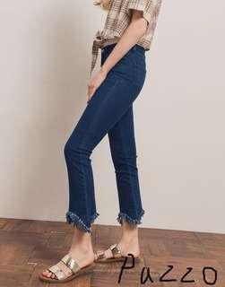 🚚 [二手]🔥降價 pazzo顯瘦抽鬚設計牛仔褲S