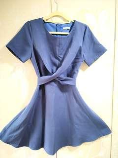 Front Twist Skater Dress in Baby Blue #MRTYishun