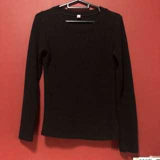 black ribbed long sleeve