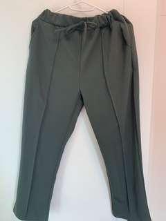 深綠色 墨綠色 七分闊腳褲
