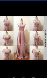 Rose gold infinity maxi dress (convertible)