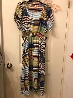 🚚 韓條紋長洋裝