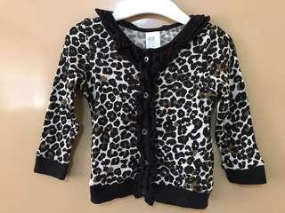 H&M long sleeves leopard print top 6 to 9 months
