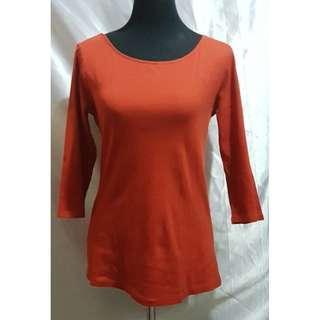 Preloved Zara Organic Cotton 3/4 Sleeved Shirt (Size Details on Description)