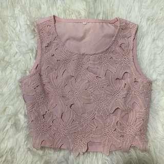 🚚 Pink Lace Crop Top