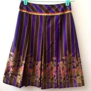 🚚 紫金色直條紋緞面高質感圓裙