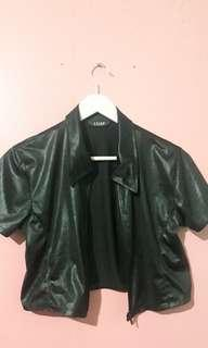 cropped faux leather zipper top