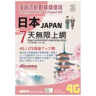 3HK 日本 7日無限上網 DOCOMO日本上網卡