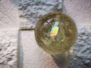 💛巴西天然彩虹黃水晶球 💛Natural Yellow creastly