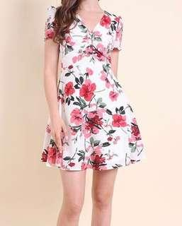 Neonmello Luna Sleeve V-Neck Floral Dress