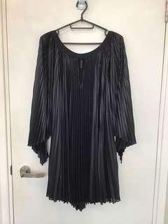 BCBG black pleated silk dress 百摺真絲連身裙