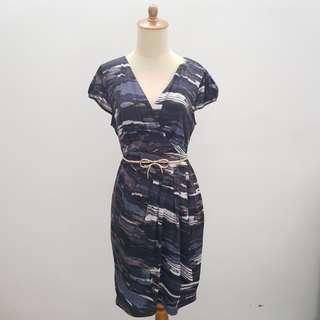 Love & Bravery Blue Abstract Midi Dress