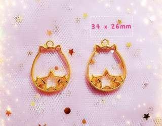 Brand new Resin Bezel Craft Supply- Gold Pusheen Cat Star Bezel