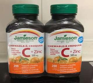 Jamieson  Vitamin C (500mg) 200 Tablets(軟糖) 2 樽