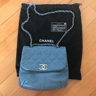 CHANEL blue leather chain bag