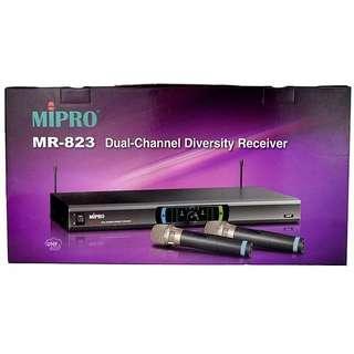 全新行貨,世界5大品牌 MIPRO MR-823 1U雙頻道自動選頻 無線咪 WIRELESS MICROPHONE 卡啦ok 卡拉ok mic 唱k咪