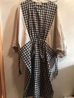 兩側索帶束腰連身裙