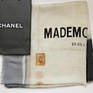 CHANEL Mademoiselle Privé Exhibition Écharpe *RARE* Collector's Piece Black Grey Cream Gold Silk Cashmere Scarf Large Limited Edition Shawl