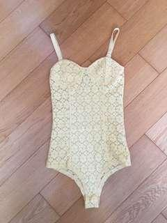 Yellow Crochet Lace Bodysuit 黃色蕾絲連身衣