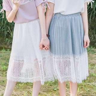 🆕全新藍白色蕾絲半身裙