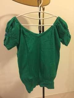 🚚 墨綠短袖針織衫