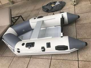 Charity sale. Like new! Inflatable fishing boat with aluminum base