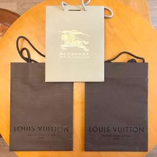 🚚 LV紙袋2個+Burberry紙袋1個