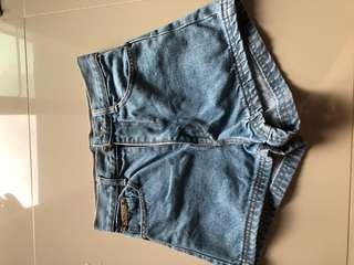 High waist denim short