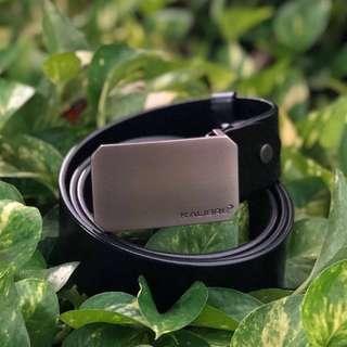 Black Leather Belt Men Stainless Steel Head Original Ikat Ban Pinggang Kulit Kepala Besi Pria KALIBRE