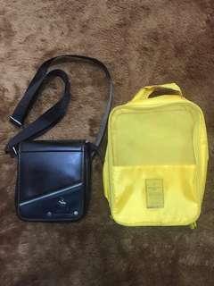 50k dapat 2 tas, sling bag polo dan tas sepatu miniso! Murah!