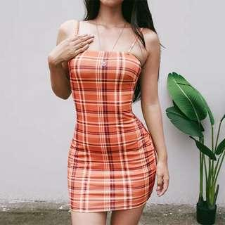 [PO] checkered bodycon dress