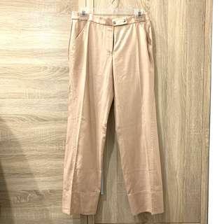 🚚 eq:iq 亞麻卡其中直筒斜口袋褲 西裝褲