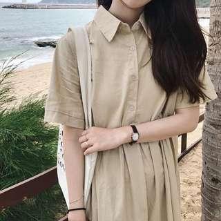 90%🆕純色polo領短袖連身裙 dress