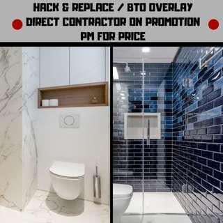 Direct hacking, tiling & flooring. HDB licensed. Toilet & kitchen reno