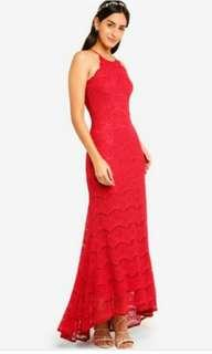 ZALORA floor length red lace dress