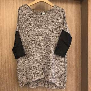 🚚 H&M 皮革七分袖針織上衣