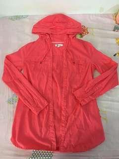 Bossini 螢光粉紅色連帽波點恤衫外套