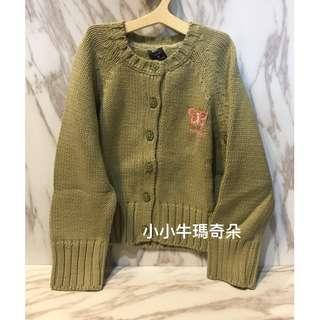 出清~小小牛瑪奇朵~GAP toddler系列 小女童蝴蝶橄欖綠針織開襟衫/外套