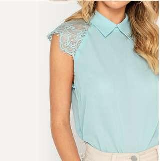 P2mart ✌🏼✔Pre order stock ✔Green Elegant Blouse Contrast Lace Top